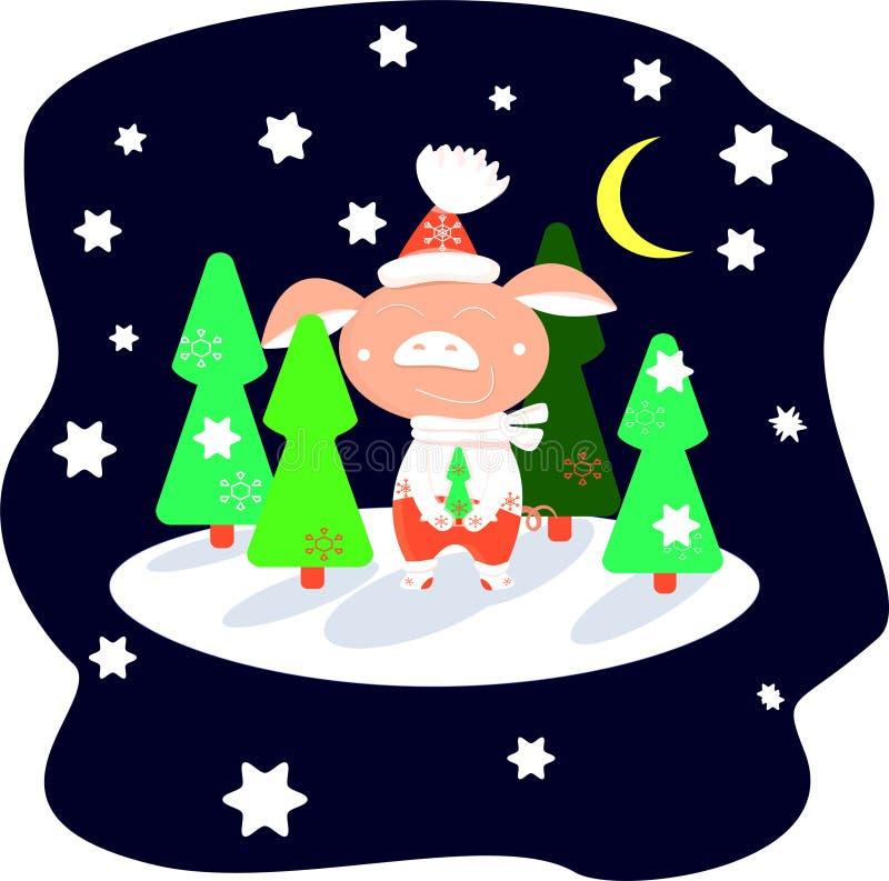 Поросенок в красных брюках в лесе зимы на звездной ночи среди зеленых рождественских елок иллюстрация вектора