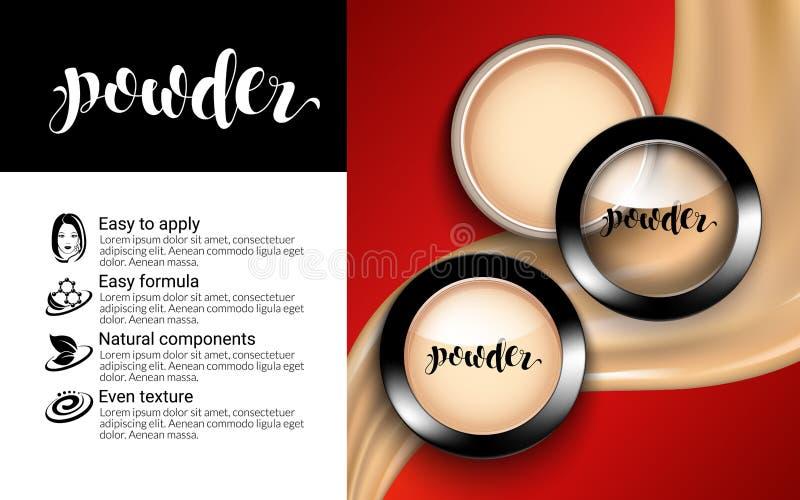 Порошок состава блестящей стороны моды косметический в черных круглых объявлениях взгляд сверху пластичного случая элегантных тек бесплатная иллюстрация