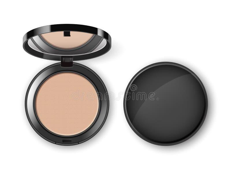 Порошок состава стороны вектора косметический в черном круглом пластичном случае с взгляд сверху зеркала иллюстрация вектора