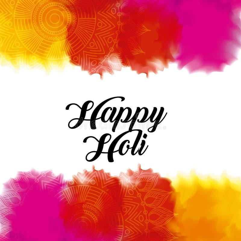 Порошок счастливого цвета holi gulal брызгает иллюстрация вектора