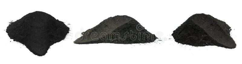 Порошок угля изолированный на белой предпосылке стоковая фотография