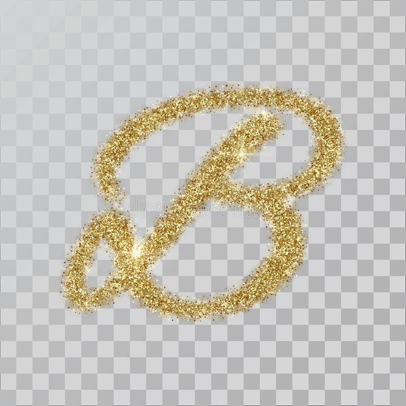 Порошок яркого блеска золота помечает буквами u, v, n в стиле покрашенном рукой иллюстрация вектора