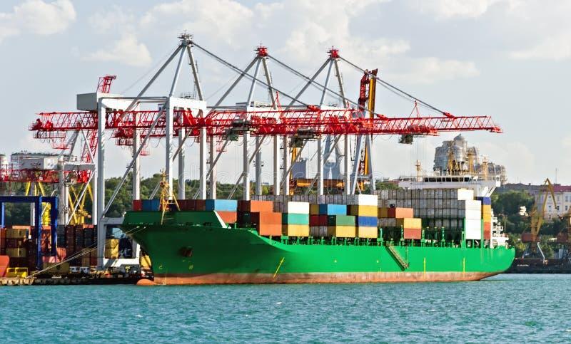Портальный контейнеровоз кранов в импорте и экспорт логистический стоковая фотография rf