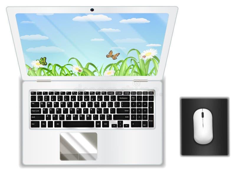 Портативный компьютер взгляд сверху реальный белый с мышью иллюстрация штока