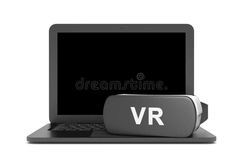 Портативный компьютер виртуальной реальности иллюстрация штока