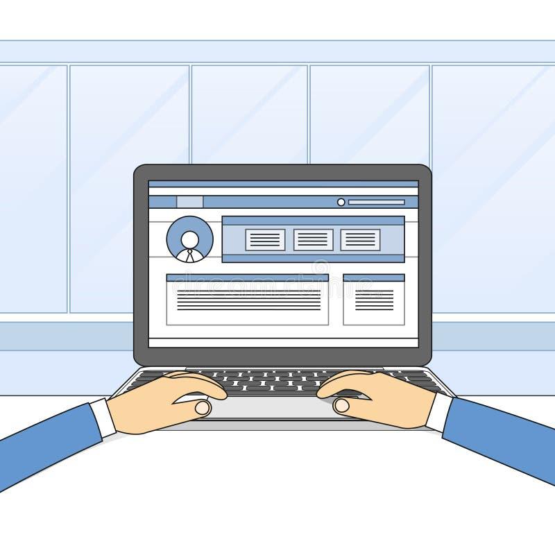 Портативный компьютер вручает тип работая используя компьютер бесплатная иллюстрация