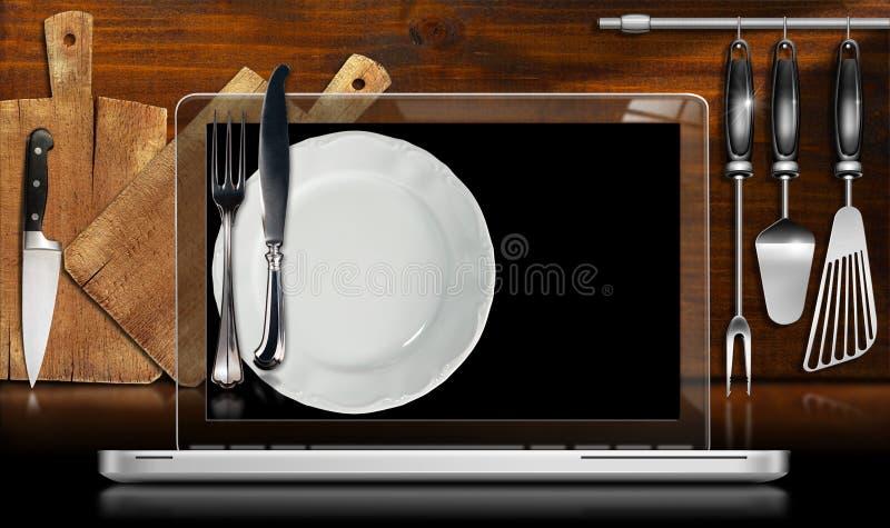 Портативный компьютер в кухне иллюстрация штока