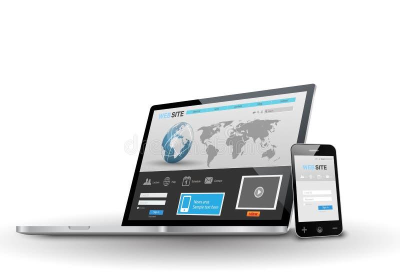 Портативный компьютер и умный телефон с отзывчивой сетью иллюстрация штока