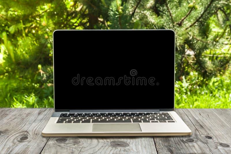 Портативный компьютер на деревянных месте для работы и предпосылке парка стоковые фотографии rf