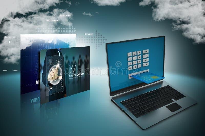 Портативный компьютер с кредитной карточкой, онлайн концепция оплаты бесплатная иллюстрация