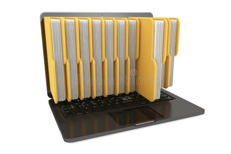 Портативный компьютер с папками иллюстрация штока