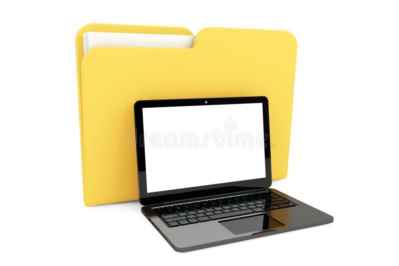 Портативный компьютер с папкой бесплатная иллюстрация