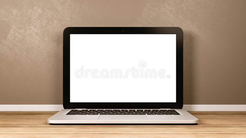 Портативный компьютер с пустым экраном в комнате иллюстрация штока