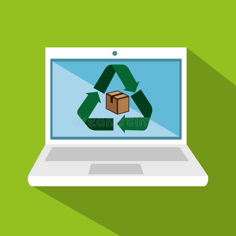 Портативный компьютер с рециркулирует символ бесплатная иллюстрация