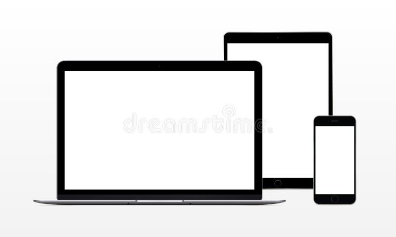 Портативный компьютер, таблетка, телефон иллюстрация вектора