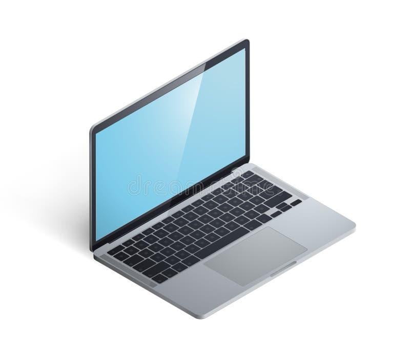 Портативный компьютер 3D равновеликий иллюстрация штока