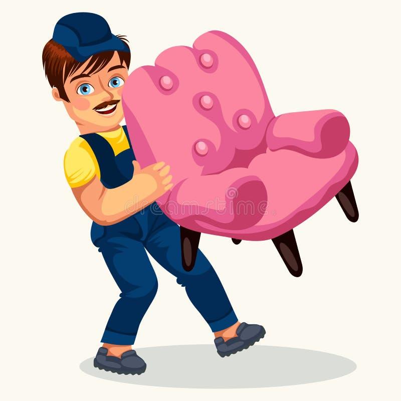 Портер нося плакат розового кресла красочный иллюстрация штока