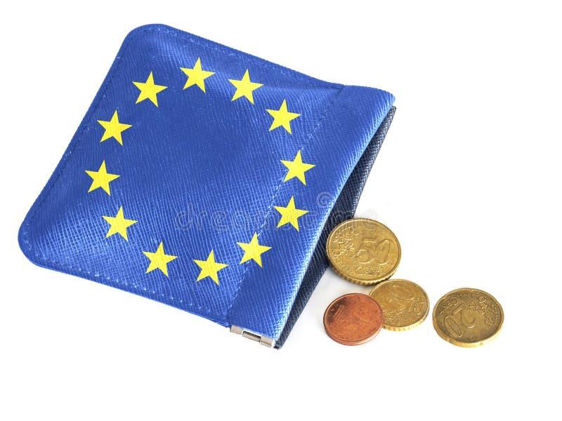 Портмоне ЕС почти пустое, бегущ из денег, евро Финансовый, банковский кризис, Европа, Италия etc Концепция, метафора стоковая фотография