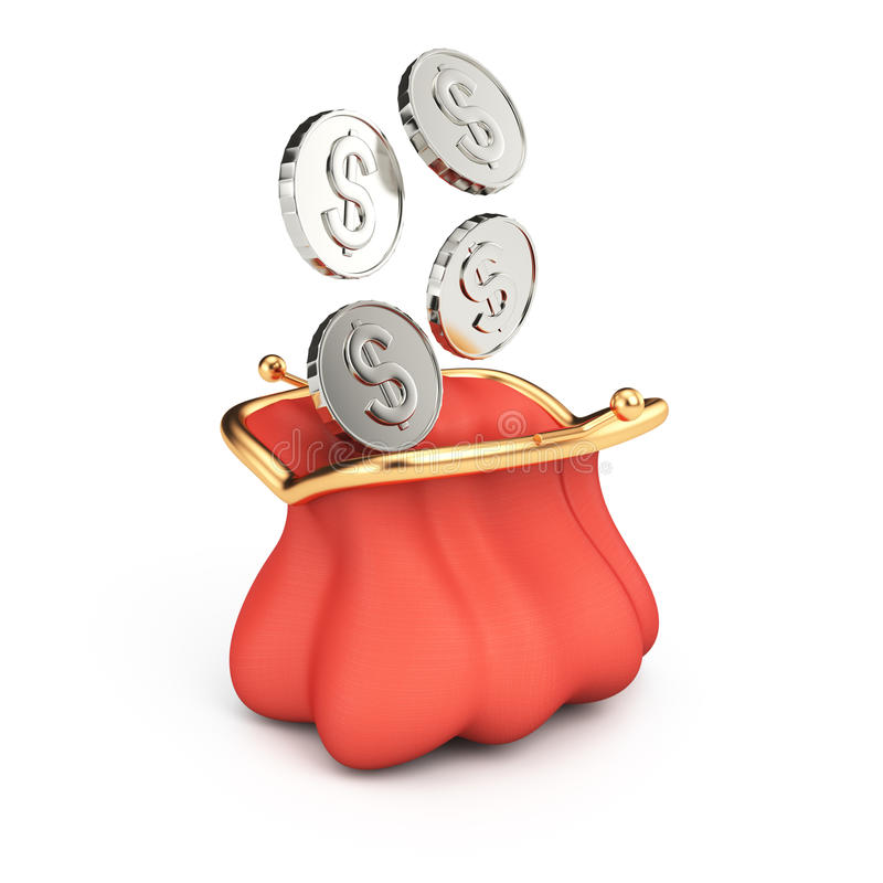 Портмоне и монетки бесплатная иллюстрация