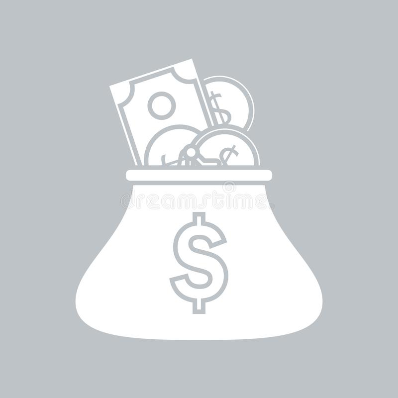 Портмоне монетки с монетками на серой предпосылке, для любого случая иллюстрация вектора