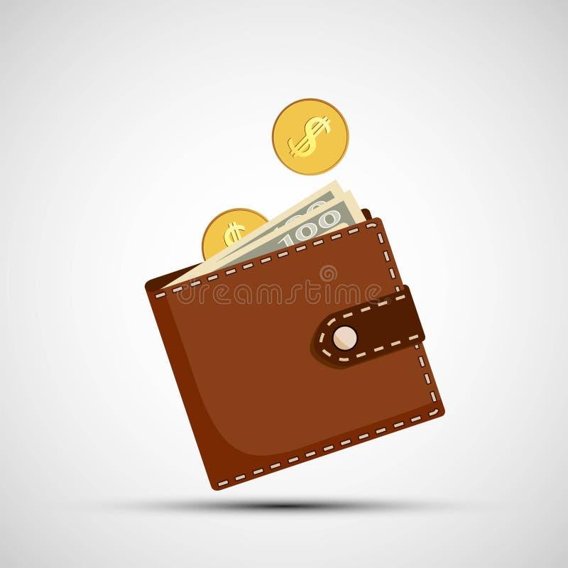 Портмоне с деньгами иллюстрация вектора
