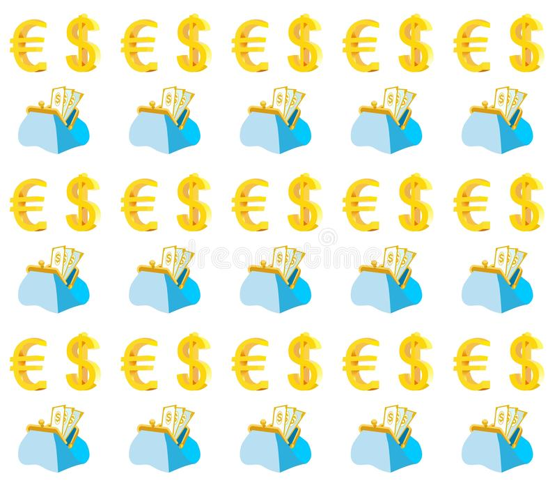 Портмоне с картиной наличных денег и монетного примечания безшовной бесплатная иллюстрация