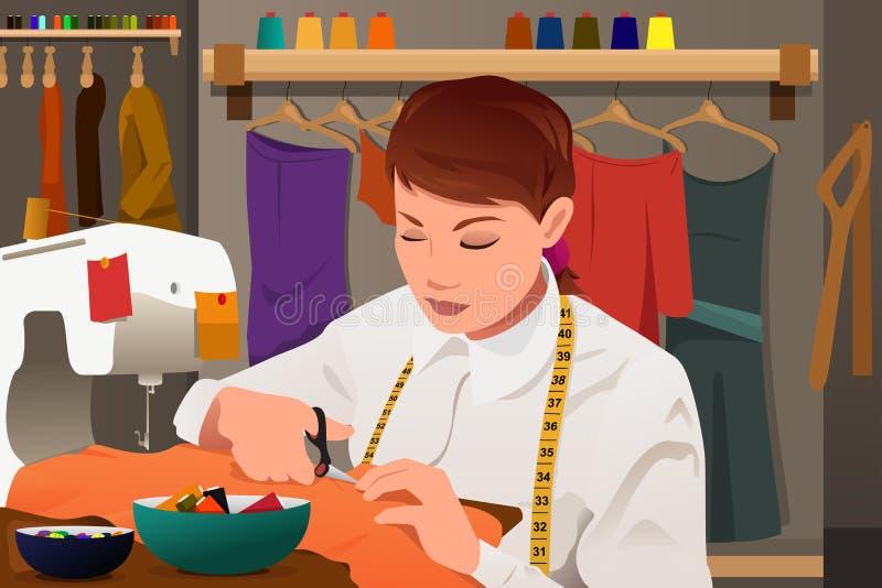 Портной работая с швейной машиной иллюстрация вектора