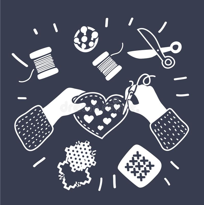 Портняжничайте иллюстрацию вектора рук команды уроков needlework модельера белошвейки бесплатная иллюстрация