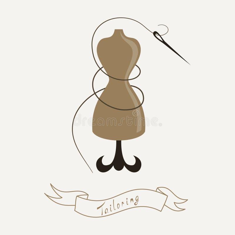 Портняжничать эмблему с манекеном или куклой и иллюстрация вектора