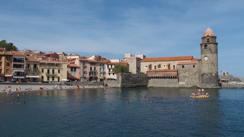 Портовый город Collioure méditerranean стоковое изображение rf