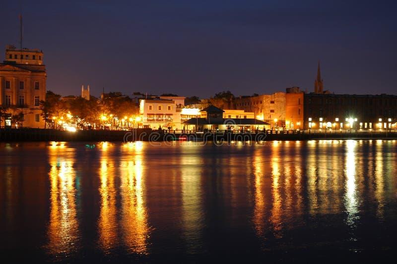 портовый район ночи стоковые изображения rf