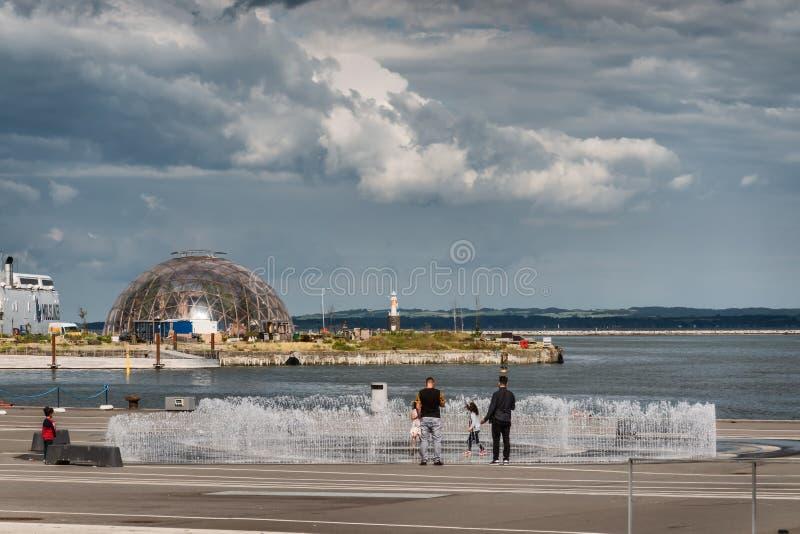 Портовый район Орхуса современный новый, Дания стоковые изображения