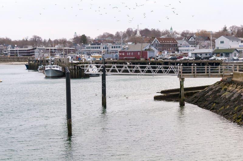 Портовый район Плимута, Массачусетса и горизонт стоковая фотография rf