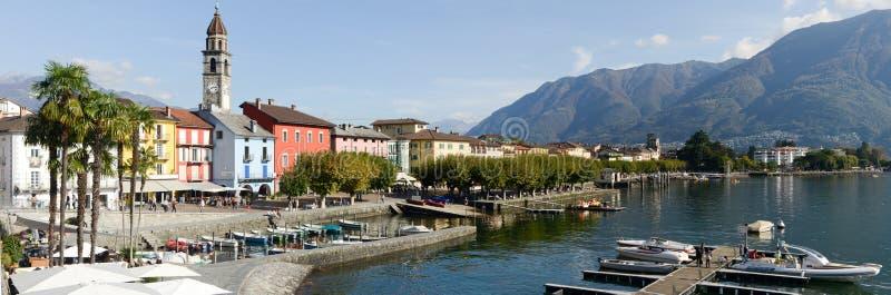 Портовый район Ascona на Швейцарии стоковое фото