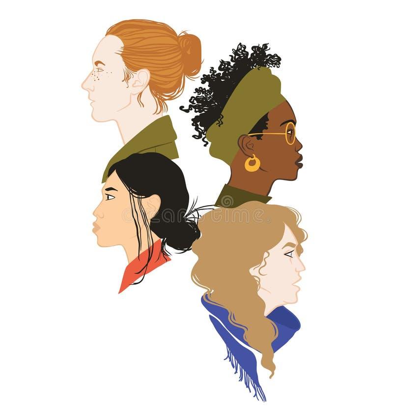 4 портрета профиля девушек Воевать силу сильно совместно Солидарность девушек Равные права для каждого феминизм иллюстрация штока