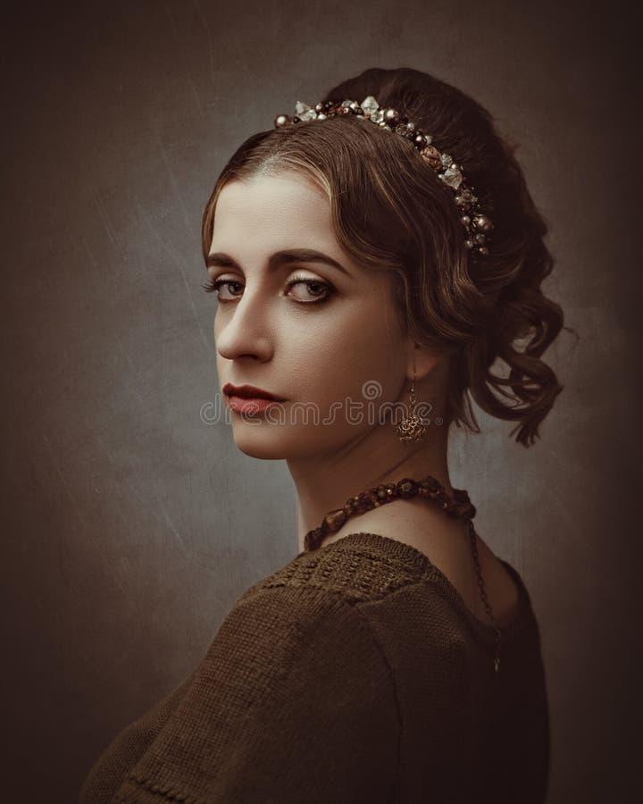 Портретная живопись Fayumi Античный портрет женщины стиля картины стоковое фото rf