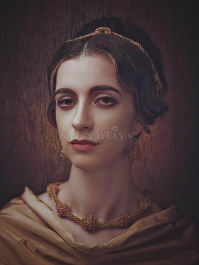 Портретная живопись Fayumi Античный портрет женщины стиля картины стоковые фото