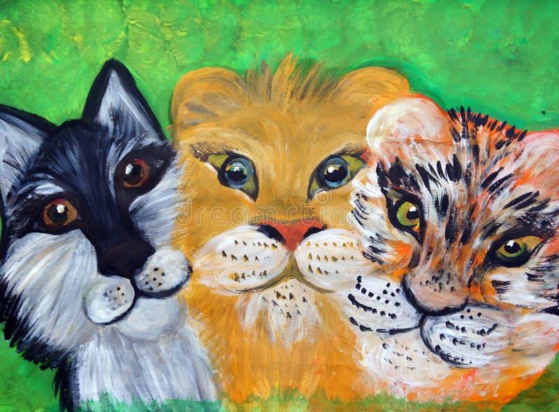Портреты волка, тигра и льва бесплатная иллюстрация