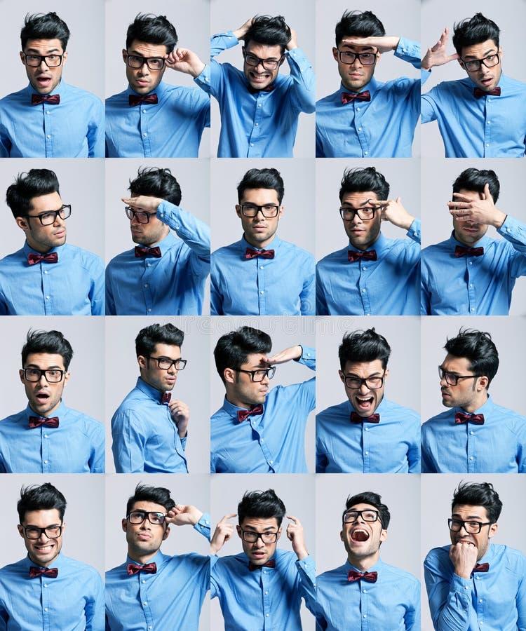 Портреты с различными выражениями молодого человека стоковые изображения rf