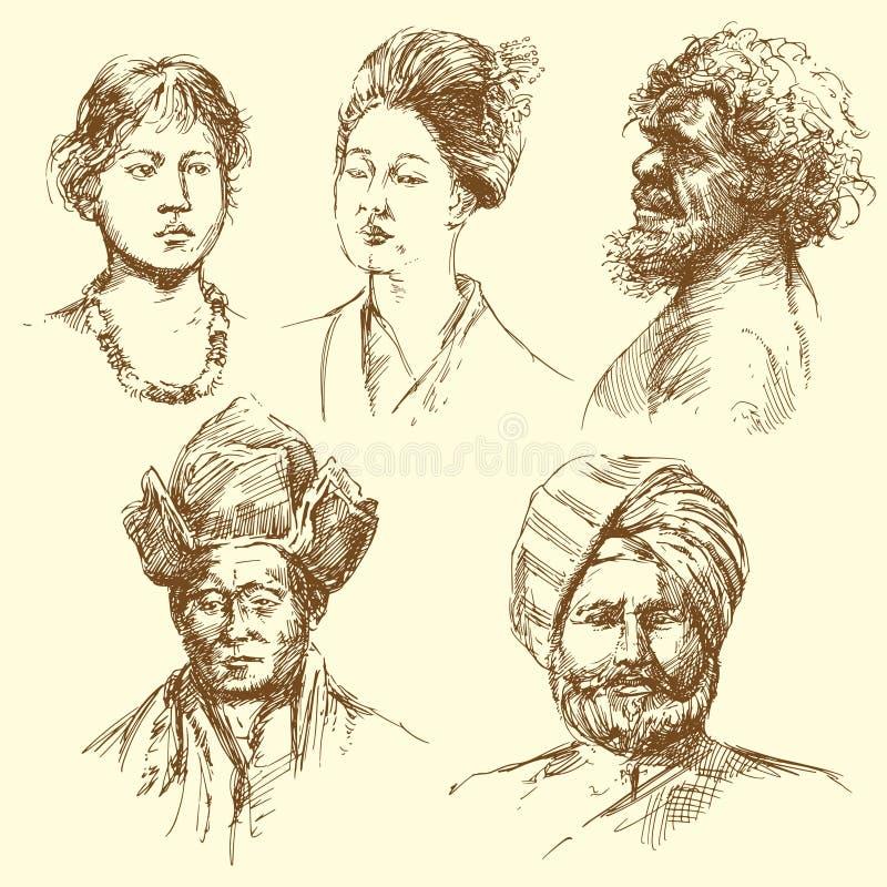 портреты человека разнообразности иллюстрация штока
