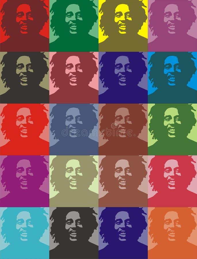 портреты marley bob иллюстрация вектора