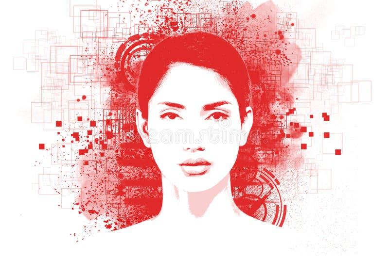 Портрет абстрактного искусства молодой женщины иллюстрация штока
