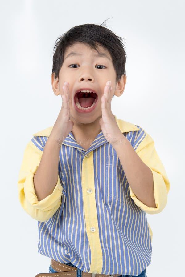Портрет азиатского счастливого мальчика возбудил сторону и смотреть камеру стоковые изображения rf