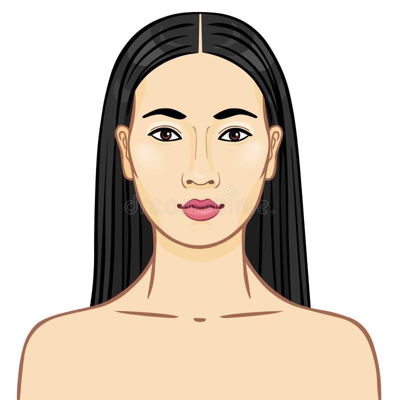 Портрет азиатской девушки иллюстрация штока