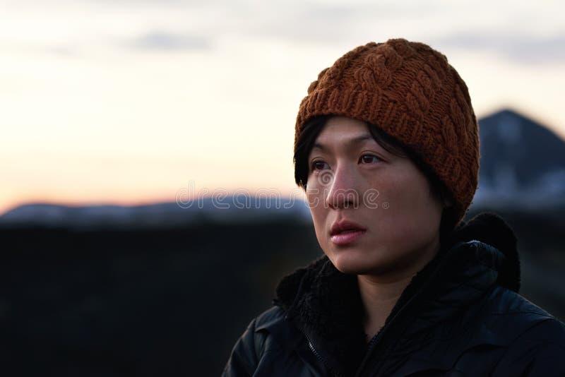 Портрет азиатской женщины приключения стоковое изображение rf