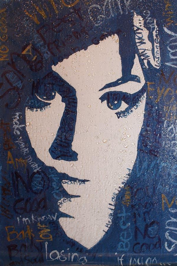 Портрет Ами Winehouse с дождевыми каплями фильтра, холста, акрила стоковая фотография