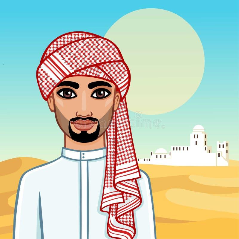 Портрет анимации арабского человека в традиционных одеждах иллюстрация вектора