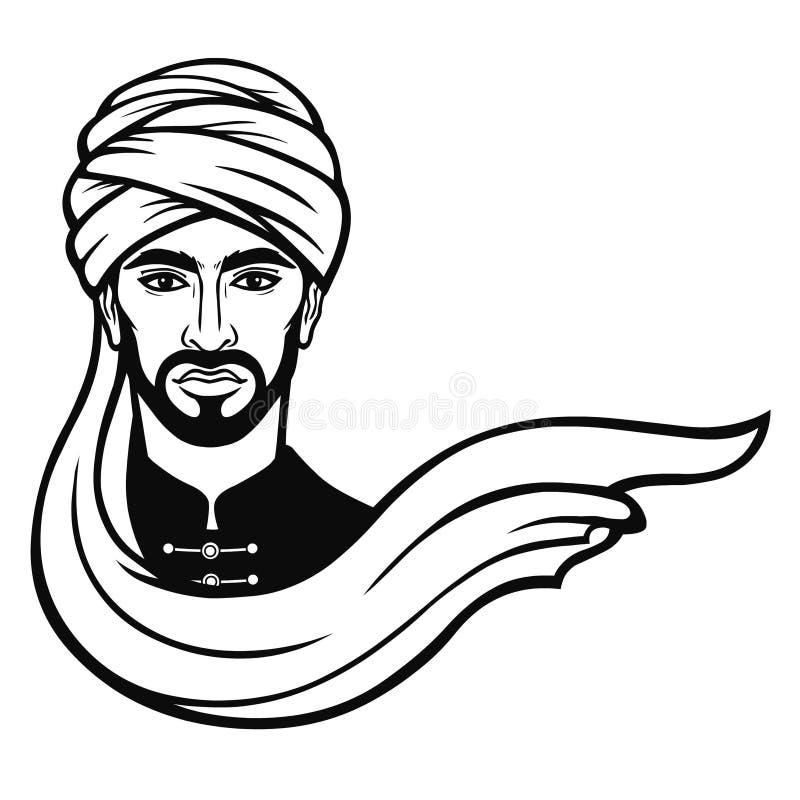 Портрет анимации арабского человека в тюрбане иллюстрация вектора