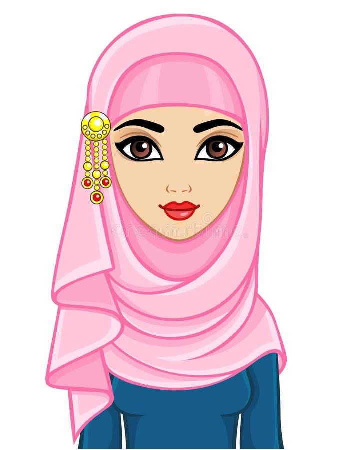 Портрет анимации арабской женщины в традиционном костюме бесплатная иллюстрация