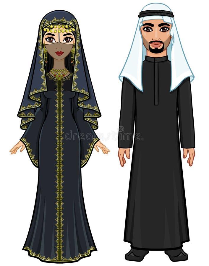 Портрет анимации арабской семьи в традиционных одеждах иллюстрация вектора